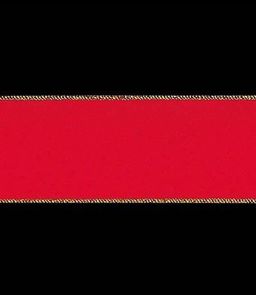 【全品30%以上OFF!】【送料540円沖縄除く】クリスマスツリー飾り リボン 75mm幅 ゴールドエッジベルベットリボン/ワイヤー入り(9…