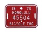 自転車 ナンバープレート 1973年 ホノルル 45504