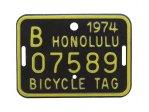 自転車 ナンバープレート 1974年 ホノルル B07589