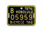自転車 ナンバープレート 1974年 ホノルル B05959