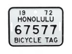 自転車 ナンバープレート 1972年 ホノルル 67577
