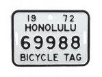自転車 ナンバープレート 1972年 ホノルル 69988