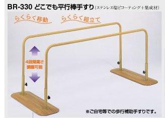 リハビリ用平行棒手すり 長さ1800ミリ (ステンレス+集成材)