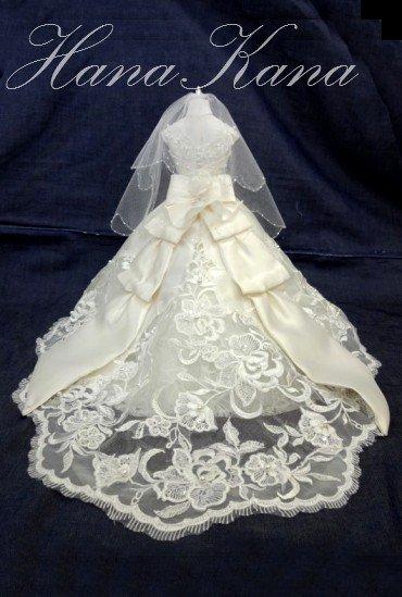 ミニチュアドレス・ウエディングドール(ベール付) M~Lサイズ
