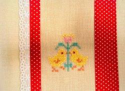 ノーマル版・ボトルマット・鳥の刺繍(裏はコットン地)