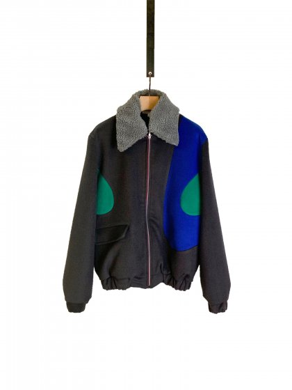 <img class='new_mark_img1' src='https://img.shop-pro.jp/img/new/icons19.gif' style='border:none;display:inline;margin:0px;padding:0px;width:auto;' />Zip Up Wool Jacket In Blocking Lines