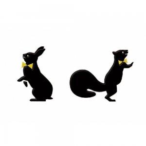 animalシリーズ  ウサギとリス(ブラック)