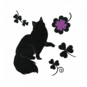 I LOVE CAT 猫とクローバー(ブラック)