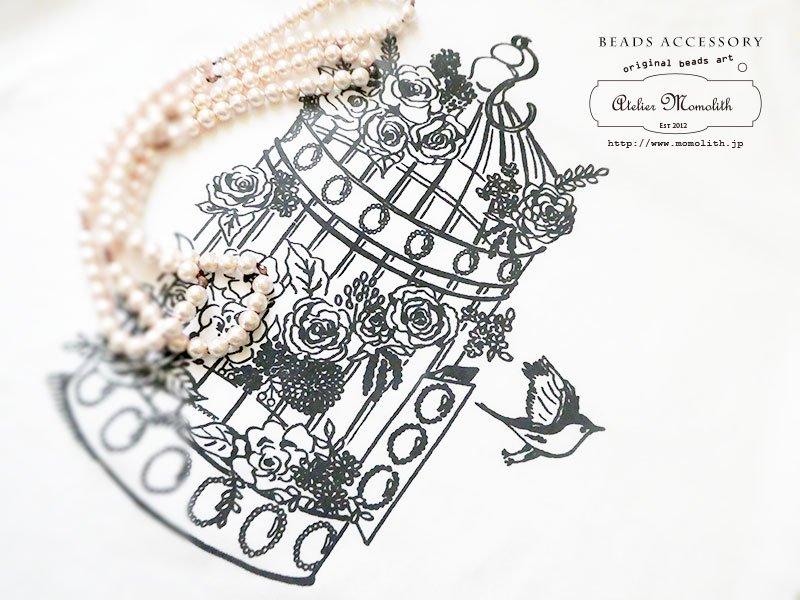 FOLOWER BIRDCAGE (白)ロングネックレスとレディースクールネックのセット