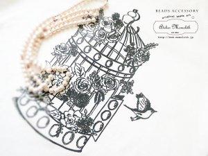 【KOUSCHxMOMOLITHコラボ商品】ピンクのロングネックレスと白いレディースクールネックのセット FOLOWER BIRDCAGE