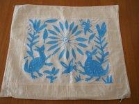 メキシコ オトミ族刺繍クッションカバ-Nライトブルー