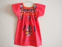メキシコ刺繍KIDSワンピース 90-110【コーラルピンクXマルチカラー】