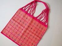 メキシコ チアパス織りバッグ【織模様入り ピンク�】