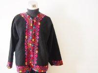 メキシコ 刺繍ウールコート【ブラック�M】