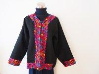 メキシコ 刺繍ウールコート【ブラック�M-L】