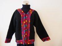 メキシコ 刺繍ウールコート【ブラック�S-M】