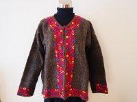 メキシコ 刺繍ウールコート【グレイ�S-M】