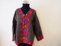 メキシコ 刺繍ウールコート【グレイ�M-L】