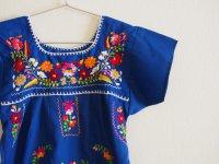 メキシコ刺繍KIDSワンピース 120-140【ブルー】