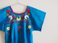 メキシコ刺繍KIDSワンピース 120-140【ライトブルー】