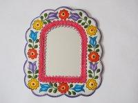 メキシコ ブリキ鏡L【窓型 パープル】