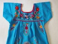 メキシコ刺繍KIDSワンピース 90-110【ライトブルー】