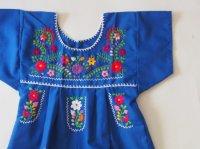 メキシコ刺繍KIDSワンピース 90-110【ブルー】