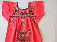 メキシコ刺繍KIDSワンピース 90-110【ピンク�】