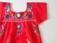 メキシコ刺繍KIDSワンピース 120-130【レッド】