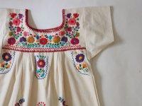 メキシコ刺繍KIDSワンピース 120-140【生成りXマルチカラー�】