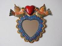 メキシコ ブリキ鏡【鳥ハート ブルー】