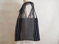 メキシコ チアパス織りバッグ【シンプルストライプ ネイビー】