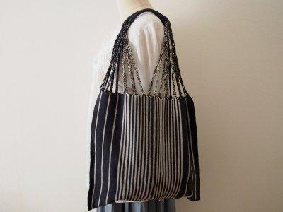 メキシコ チアパス織りバッグ【シンプルストライプ チャコールグレー】