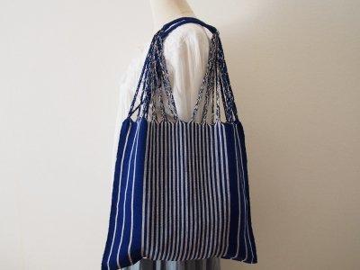 メキシコ チアパス織りバッグ【シンプルストライプ ロイヤルブルー】