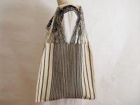 メキシコ チアパス織りバッグ【シンプルストライプ オフホワイトXブラック】
