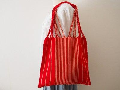 メキシコ チアパス織りバッグ【シンプルストライプ レッド】
