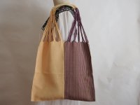 メキシコ チアパス織りバッグ【ハーフストライプ クリームXパープルXグレイ】