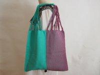 メキシコ チアパス織りバッグ【ハーフストライプ エメラルドグリーンXピンクXグレイ】
