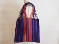 メキシコ チアパス織りバッグ【カラフルストライプ ブルー】