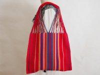 メキシコ チアパス織りバッグ【カラフルストライプ レッド】