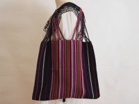 メキシコ チアパス織りバッグ【カラフルストライプ ブラック】