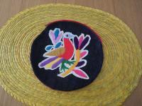 メキシコ オトミ族刺繍丸型ポーチ【RD】
