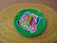 メキシコ オトミ族刺繍丸型ポーチ【GR】
