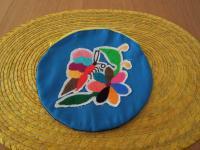 メキシコ オトミ族刺繍丸型ポーチ【BL】