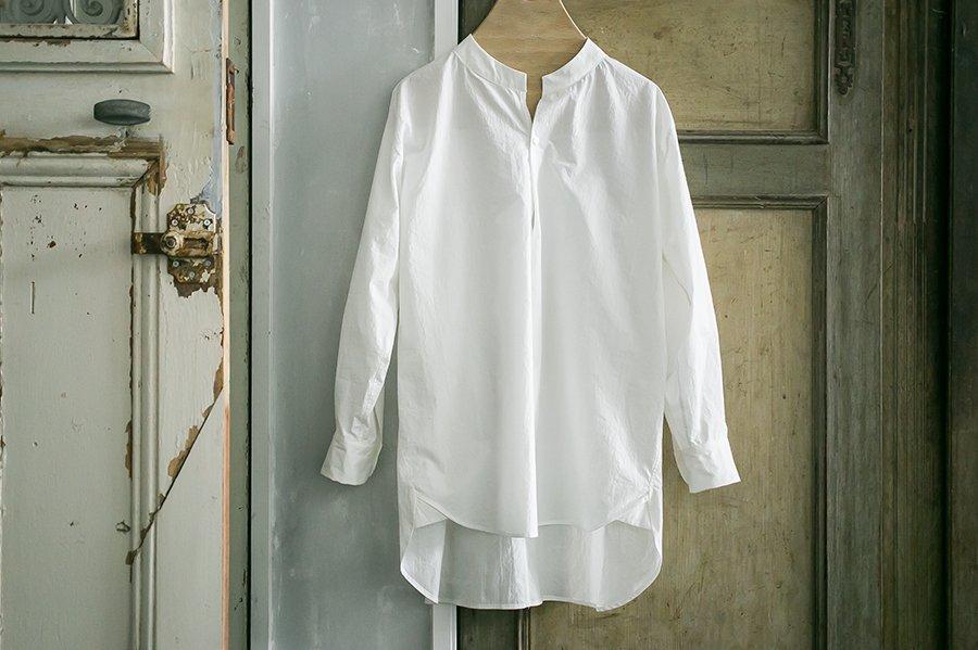 endow タイプライターバンドカラープルオーバーシャツ WHITE