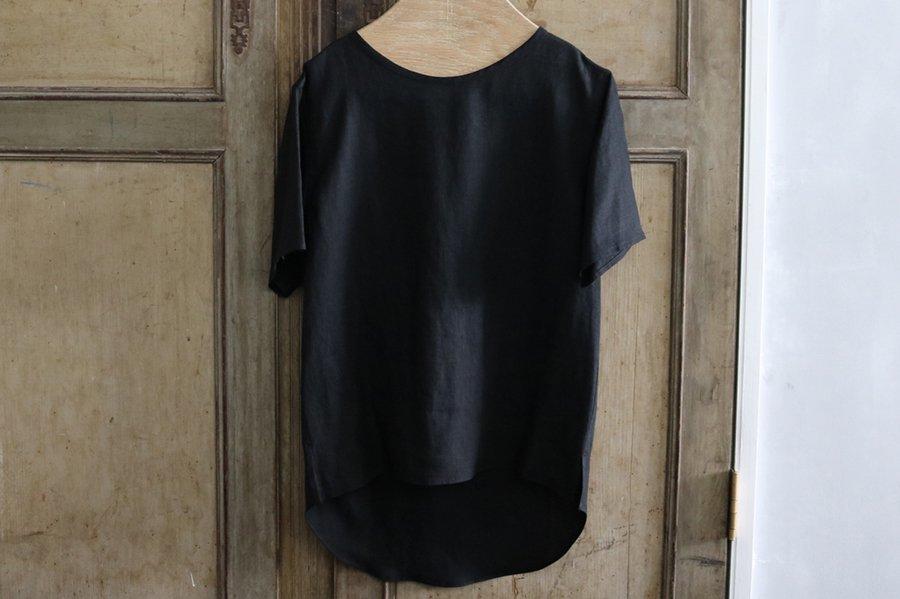 semoh リネンプルオーバーシャツ BLACK