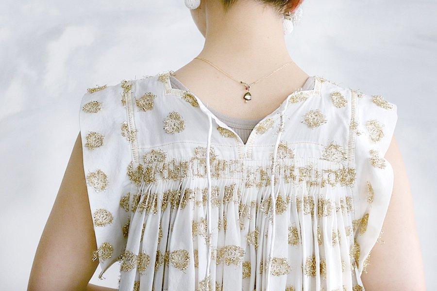 TOWAVASE 「Furinji」刺繍ドレス WHITE×GOLD