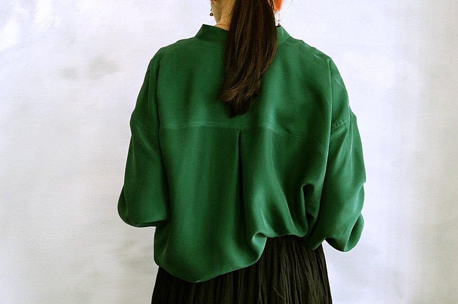 humoresqe スタンドカラーシルクシャツ GREEN