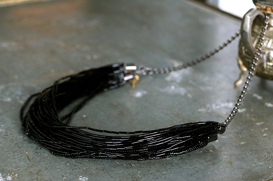 DOIGT Beads Beads Necklace BLACK