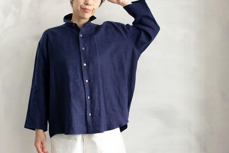 semoh 起毛リネンワイドシャツ BLUE